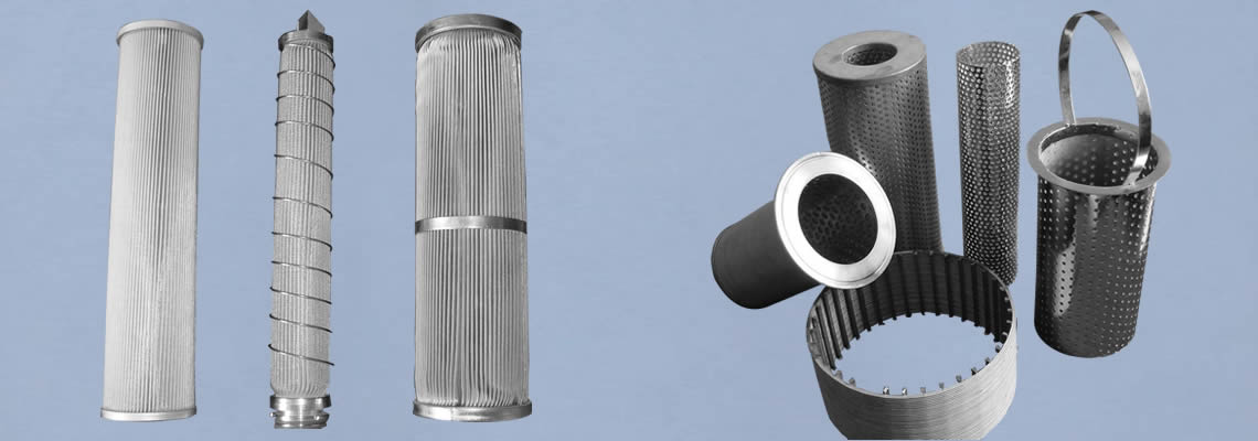 Left part is three pleated cylinder filters and right part is perforated and woven cylinder filters.