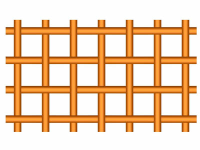 A drawing of plain weave copper wire mesh on the white background.