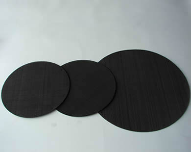 Three black wire cloth filter disc with different diameters.