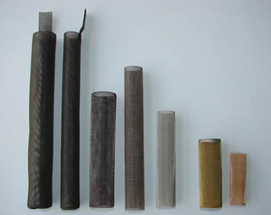 Six tube filters with different material.