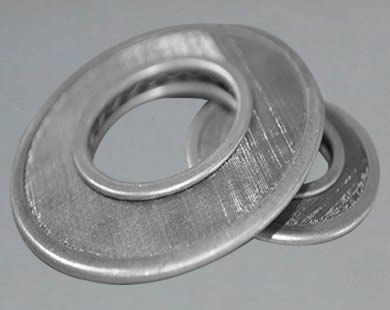 Two stainless steel filter discs with multiple layers.