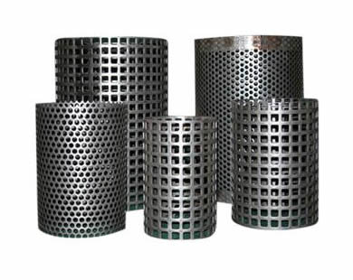 Five perforated filter tubes with square or round holes.