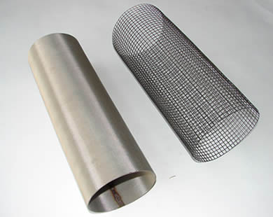 Two woven filter tubes are placed together.