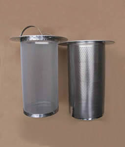 Left part is woven cylinder filter and right part is perforated cylinder filter.